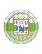 8 Kuchenteller Happy Birthday in Grün