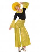 Schrilles Disco-Kostüm für Damen 70er-Jahre schwarz-gelb