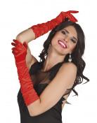 Damenhandschuhe aus rotem Satin