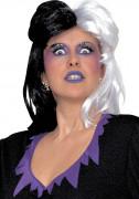 Schwarz-weiße Teufelin-Perücke für Damen