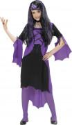 Dämonisches Vampir-Mädchenkostüm schwarz-lila