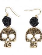 Schwarze Rose-Totenkopf Ohrringe für Erwachsene