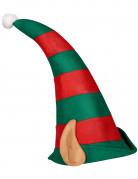 Gestreifte Weihnachtskobold-Mütze mit Ohren