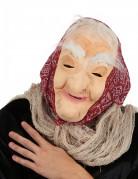 Halloween Maske Alte Hexe mit Haar und Kopftuch für Erwachsene