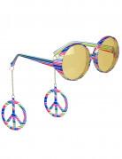 Bunte Hippie-Brille für Erwachsene