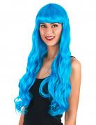 Lange blaue Lockenperücke für Damen