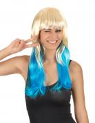 Tie & Dye blond-blaue Perücke für Frauen