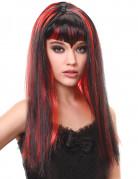 Schwarze Vampir Perücke mit rotem Pony für Frauen