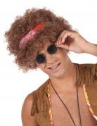 Afro Perücke Hippiefür Erwachsene braun