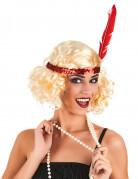 Blonde Charleston-Perücke mit rotem Paillettenband  für Damen