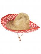 Mexikanischer Sombrero für Erwachsene Strohhut beige-rot