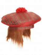 Schotten-Mütze mit Bommel für Erwachsene