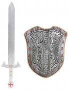 Kreuzritter-Kinderset mit Schwert & Schutzschild grau-goldfarben-rot