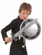 Ritterkostüm mit Schwert und Schild für Kinder schwarz-weiss-silberfarben