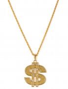 Goldene Halskette aus Metall mit einem Dollarzeichen für Erwachsene