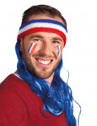 Frankreich Fan Stirnband mit blauen Haaren