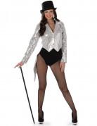 Frack-Weste 20er-Jahre Kostüm-Zubehör für Damen silber