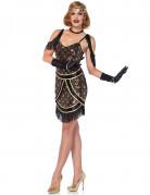 Charleston Damen-Kostüm mit Pailletten schwarz-gold