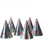6 Bunte Partyhüte im Holografik Look