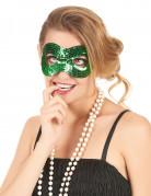 Halbmaske mit grünen Pailletten für Erwachsene