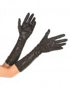 Mittellange Pailletten-Handschuhe für Damen schwarz