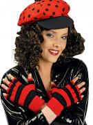 Fingerlose Handschuhe für Damen rot-schwarz