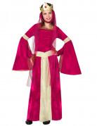 Mittelalterliches Königinnen-Kostüm für Mädchen rot-beigefarben