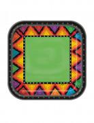 10 kleine Pappteller Mexiko Zickzack-Motiv