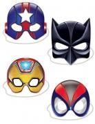4 Kartonmasken Superhelden