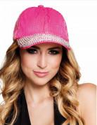 Pailletten-Schirmmütze für Damen rosa-silberfarben