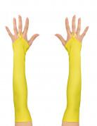 Lange fingerlose Handschuhe für Damen gelb