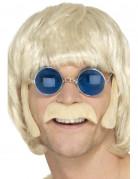 Hippie Bartset mit Koteletten und Schnurrbart blond