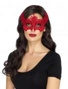 Maske mit Spitze roter Teufel Damen Halloween