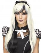 Schwarze und weiße Perücke mit langem Stirnband Hitzebeständig Damen