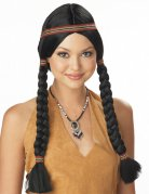 Indianer Perücke mit Zöpfen für Damen