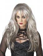Perücke Frau lange graue Haare