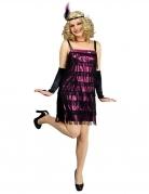 Charleston 20er-Jahre Damenkostüm Flapper lila-schwarz