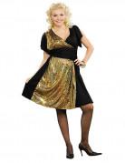 70er-Jahre Disco-Verkleidung für Damen schwarz-gold