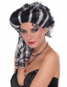 Barock Vampir Perücke für Damen schwarz-weiss