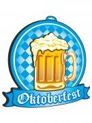 Oktoberfest Deko-Schild Bierglas 3D blau-weiss-gelb 48x48cm