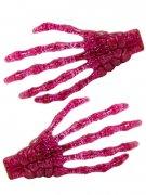 Kreepsville Skeletthand-Haarklammern für Halloween 2 Stück pink