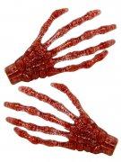 Gothic-Haarklammern Skeletthände mit Glitzer 2 Stück rot