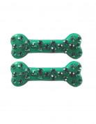 Knochen-Haarspangen mit Strass 2 Stück grün