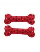 Haarklammern Knochen mit Steine Halloween-Accessoire 2 Stück rot