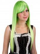 Cosplay-Perücke für Damen Langhaar mit Pony grün
