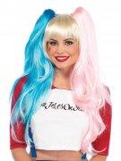 Harlekin Perücke für Damen rosa blau