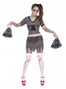 Zombie Cheerleaderin Halloween-Damenkostüm grau-rot