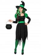 Grün-schwarzes Hexenkostüm für Damen