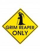 Sensenmann Deko-Schild Grim Reaper gelb-schwarz