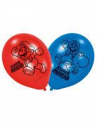 Super Mario™ Latex-Luftballons 6 Stück blau-rot-schwarz 27,5cm